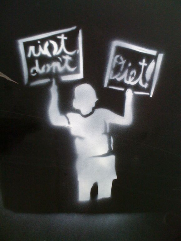 "SEEN: ""riot not diet"" stencil, linen district, downtown boise"